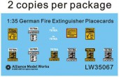 LW35067 WWII German Fire Extinguisher Placecards
